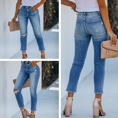 nouveaux jeans slim à trous de mode NHYF274967's discount tags