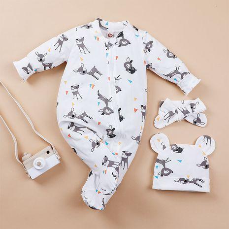 pelele con estampado de ciervo bebé con gorro y bufanda NHLF275100's discount tags