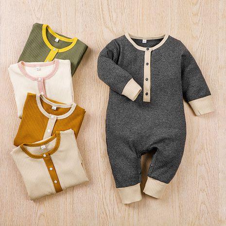 mameluco de manga larga de una pieza de color en contraste para bebé NHLF275106's discount tags