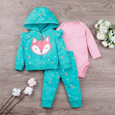 New  children's suit zipper  long-sleeved romper baby  three-piece set NHLF275116's discount tags