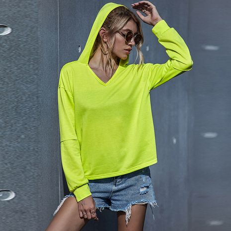 women's casual fluorescent color knitted hooded sweater NHDF275143's discount tags