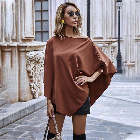veste ample en maille à épaules dénudées irrégulières de couleur unie NHDF275146's discount tags