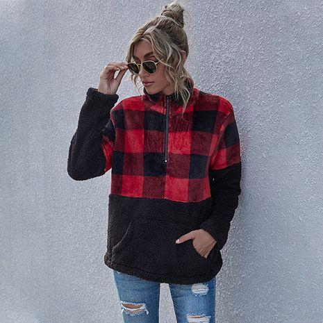 nouveau manteau de fourrure à carreaux à glissière pour femmes à manches longues pour femmes NHDF275147's discount tags