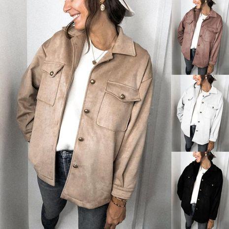Veste en velours à manches longues en cuir de cerf de couleur unie à la mode pour femme Automne / Hiver NHWA275199's discount tags