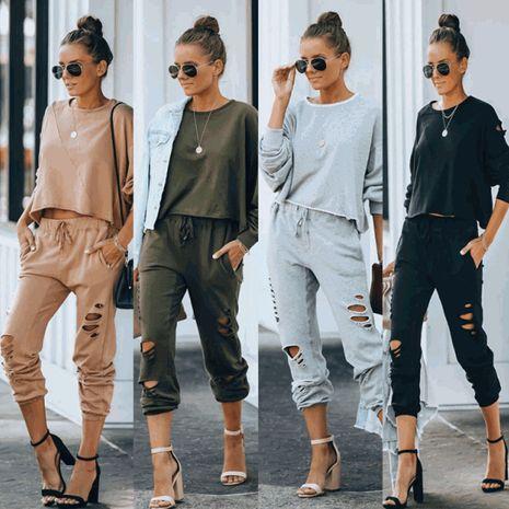 Pantalon déchiré à la mode automne / hiver pour femme NHWA275197's discount tags