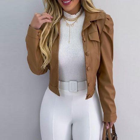 Veste courte cardigan courte en cuir PU avec revers de mode pour femmes d'hiver NHWA275198's discount tags