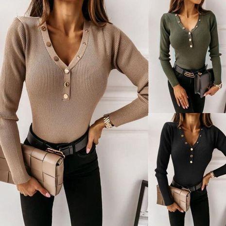 Haut de couleur unie à manches longues et col en V pour femmes, automne et hiver NHWA275200's discount tags