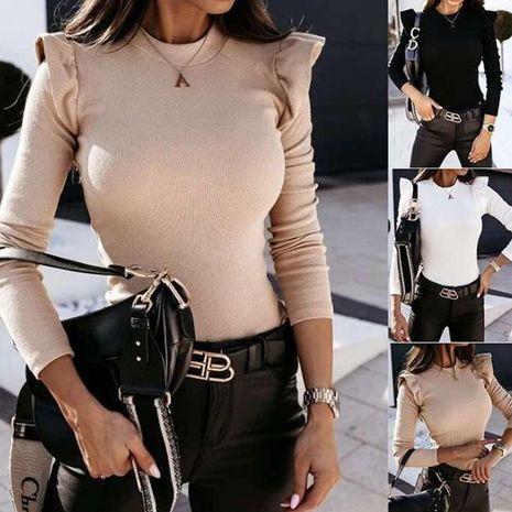 Nouveau pull femme col rond semi-haut à manches longues de couleur unie avec oreilles en bois NHWA275192's discount tags