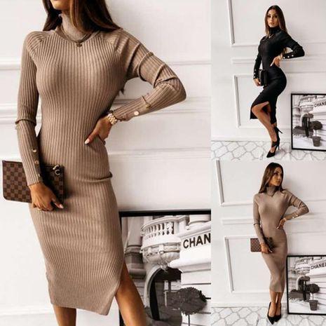 Automne et hiver nouvelle mode slim col haut dos ouvert robe de couleur unie à manches longues NHWA275191's discount tags