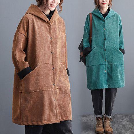 nouvelle veste mi-longue en velours côtelé matelassé en coton pour femmes de couleur unie à capuche et velours NHYF274959's discount tags