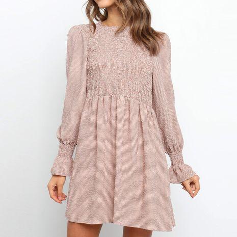 Automne nouveau style à manches longues col rond licou dos dentelle robe à carreaux femmes NHWA275185's discount tags