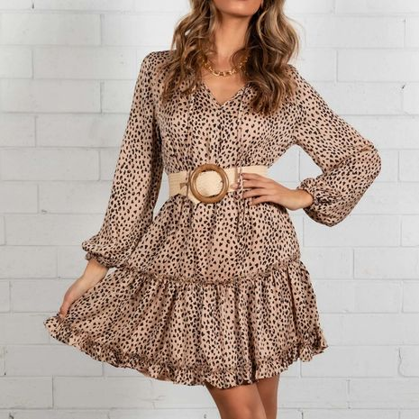 Automne nouvelle robe imprimée plissée sexy à manches longues et col en V NHWA275183's discount tags