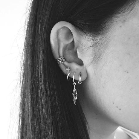 Fashion  punk style ancient silver leaf cross earrings  NHAJ275382's discount tags