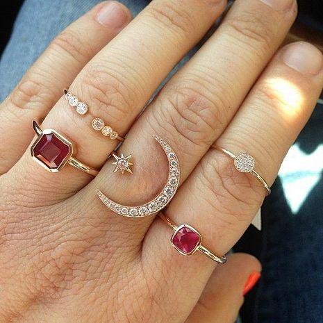 conjunto de anillos de diamantes llenos de luna de moda NHAJ275389's discount tags