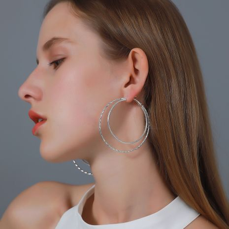 Simple  double-layer big circle earrings NHDP275417's discount tags