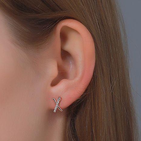 Korean new simple cross diamond letter X earrings NHDP275428's discount tags