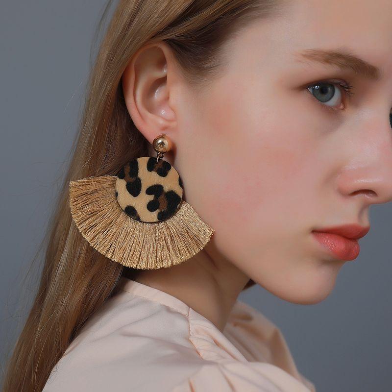 Bohemian retro leopard print tassel earrings  NHDP275448