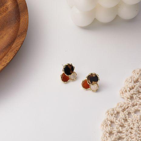 Korean fashion new  round  leopard print earrings NHMS275483's discount tags