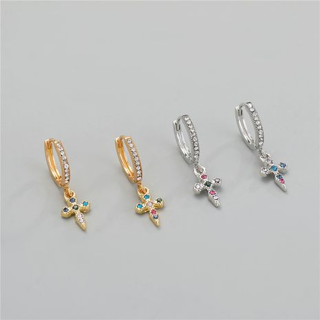 retro  mini colored diamond cross earring  NHGO275493's discount tags