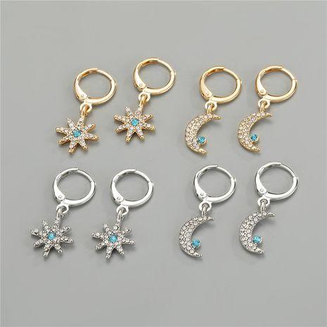 hot-selling  trend cute rhinestone meteor moon hoop earrings NHGO275500's discount tags