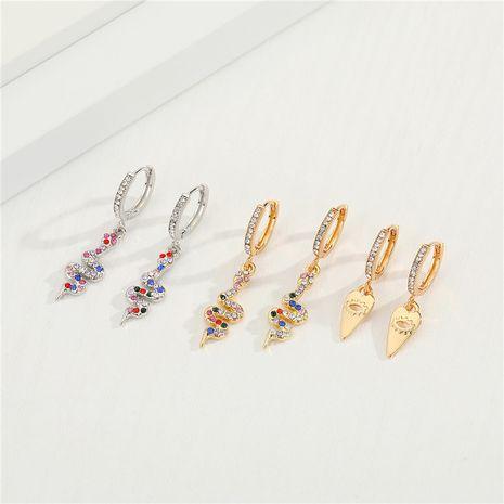 boucles d'oreilles creuses serpent en diamant de couleur punk rétro en cuivre micro-incrusté de zircon NHGO275506's discount tags