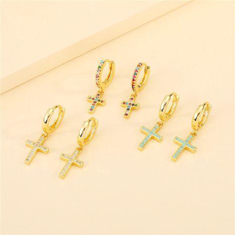 Boucles d'oreilles croix de diamants de couleur rétro coréenne NHGO275507's discount tags