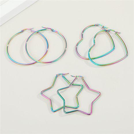 Corée adorables boucles d'oreilles rondes en forme de coeur étoile à cinq branches NHGO275509's discount tags