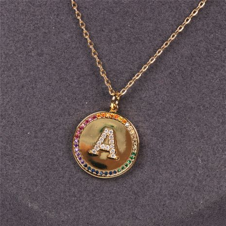 coin micro-inlaid crystal diamond rainbow 26 letter pendant necklace  NHPY275534's discount tags