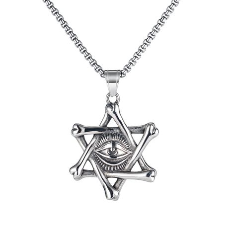 fashion retro six-pointed star magic eye necklace  NHOP275538's discount tags