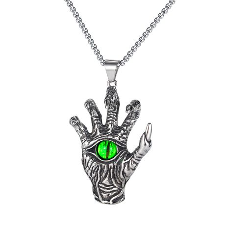 hip-hop titanium steel devil hand retro pendant necklace NHOP275543's discount tags