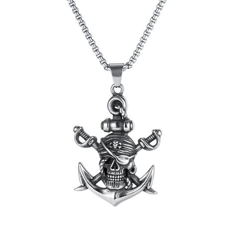 retro Halloween sword pirate titanium steel skull anchor necklace NHOP275544's discount tags