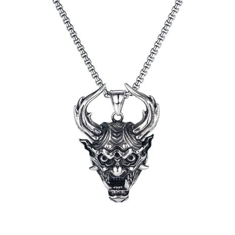 evil skull pendant retro dragon long horn monster titanium steel necklace NHOP275546's discount tags