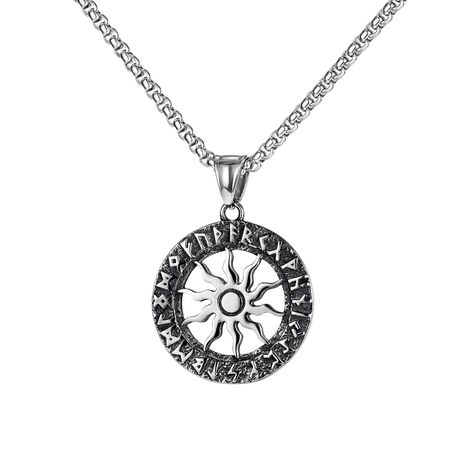 retro  sun flower titanium steel men's necklace  NHOP275553's discount tags