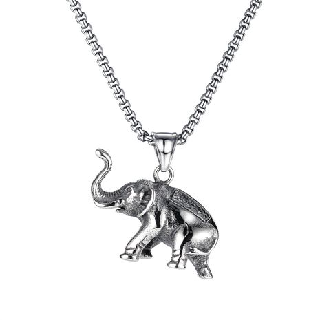 fashion classic elephant pendant men's titanium steel necklace  NHOP275555's discount tags