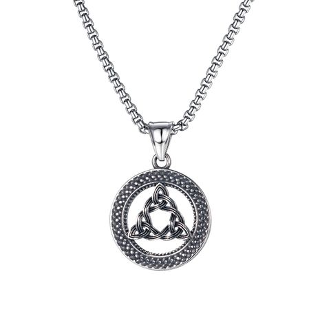 creative round triangle hollow pendant hip hop punk style titanium steel men's necklace NHOP275559's discount tags