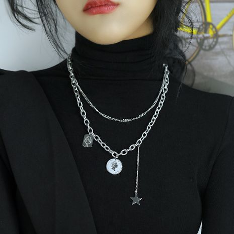 multilayer titanium steel queen disc necklace  NHOP275564's discount tags