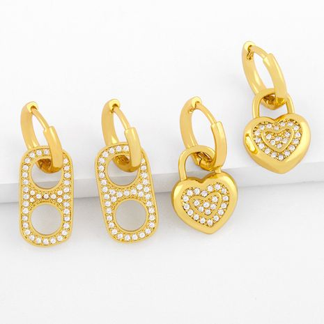 Boucles d'oreilles en zircon mode simple coeur d'amour créatif NHAS275587's discount tags