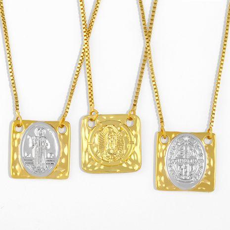 la Vierge Marie collier à pendentif carré géométrique NHAS275601's discount tags