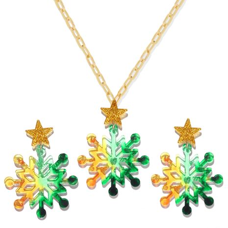 new plate color snowflake Christmas  earring necklace set  wholesale NHJQ275650's discount tags