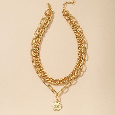fashion Gold Coin Pendant Thick Necklace  NHGU275707's discount tags
