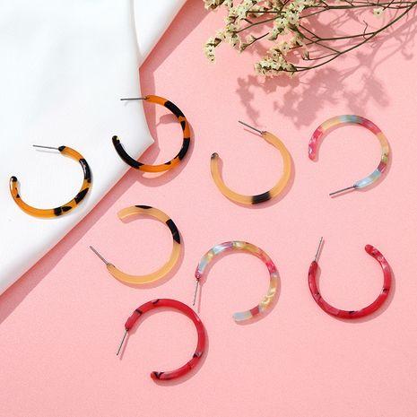 Boucles d'oreilles créatives en acrylique demi-cercle imprimé léopard NHPF275719's discount tags