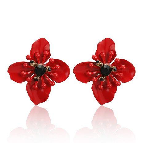 Boucles d'oreilles de fleurs de pétales cloutées de diamants simples de mode de vente chaude NHPF275720's discount tags