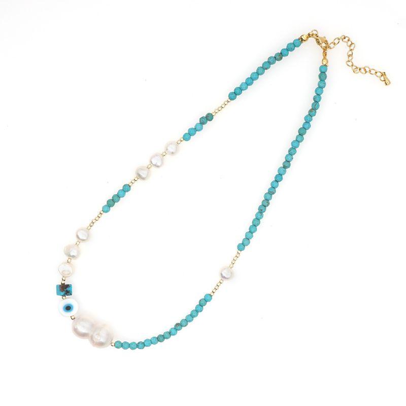 Retro ethnic style turquoise stone eye necklace  NHGW275738