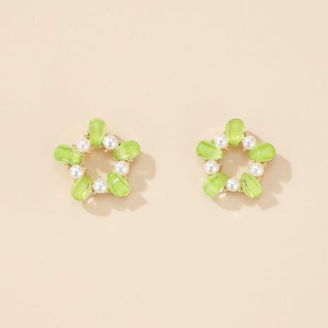 S925 Silver Needle Green Garland Small Circle Pearl Stud Earrings NHGY275808's discount tags