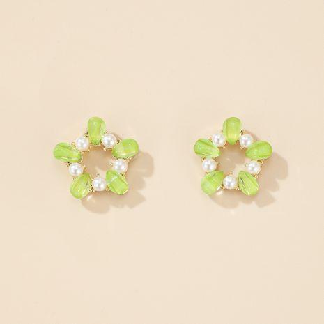 S925 Pendientes de botón de perlas de círculo pequeño con guirnalda verde de aguja de plata NHGY275808's discount tags