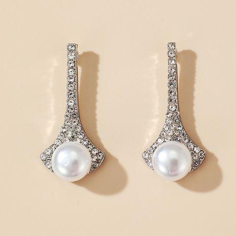 Pendientes de perlas de diamantes de imitación con diamantes de imitación de la Torre Eiffel tachonados de diamantes de gran oferta NHGY275806's discount tags