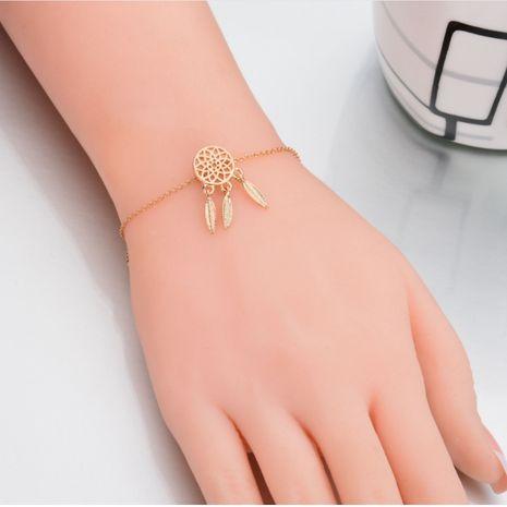 fashion dream catcher hollow leaf tassel alloy bracelet wholesale NHQC275802's discount tags