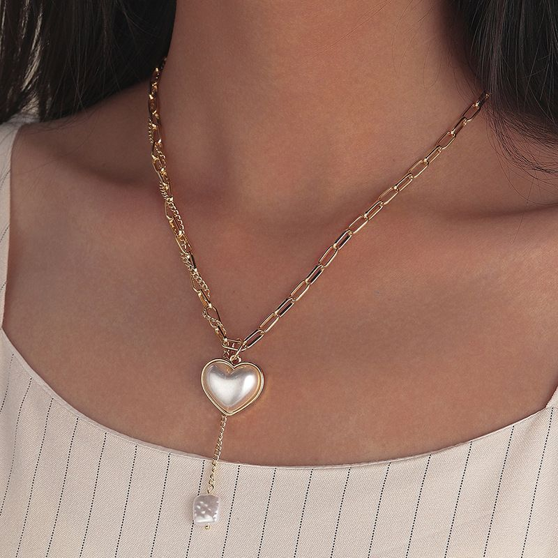 simple pearl heart adjustable hip hop chain necklace wholesale NHQC275801