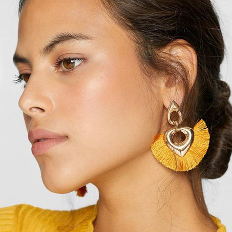 bohemian exaggerated multi-layer heart-shaped braided tassel earrings  NHQC275798's discount tags