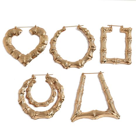 large bamboo-shaped exaggerated golden circle punk hip-hop earrings NHQC275797's discount tags